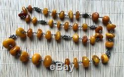 Vintage Natural Baltic Amber Honey Rare OLD Antique Beads Necklace jewelry gem