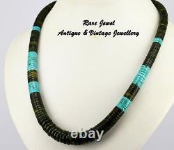Vintage Navajo Heishi Beads Beautiful Rare Turquoise & Nephrite Jade