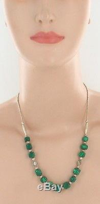 Vintage Navajo Malachite Cubes Sterling Liquid Silver Bead Necklace Rare 20