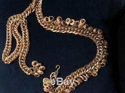 Vintage Rare Perfect JUDITH LEIBER Brass Gemstone CHARM CHAIN BELT Adjustable