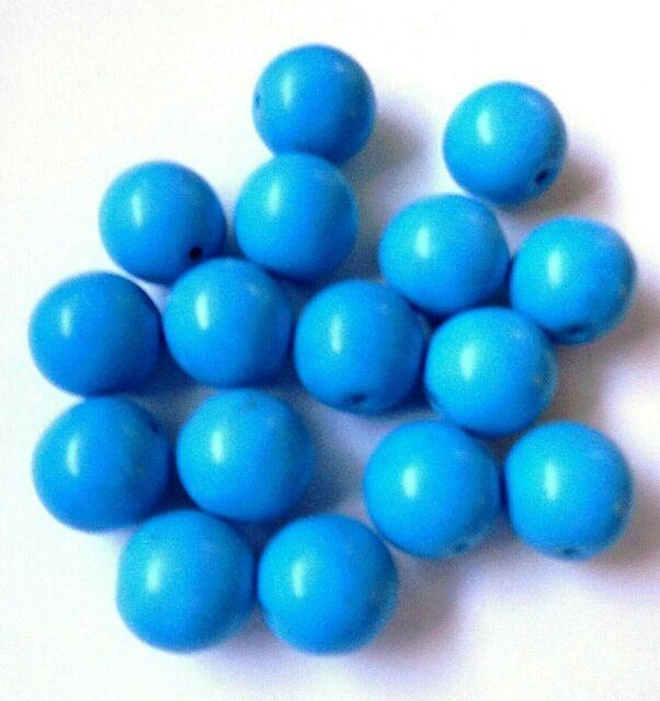 Vintage Round Arizona Globe Mine Blue Turquoise 12 Mm Beads Rare