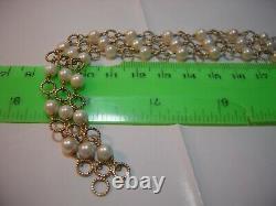 Vintage Solid 9 Ct Gold Intircate Bracelet-superb Natural Rare Pearls -7.5