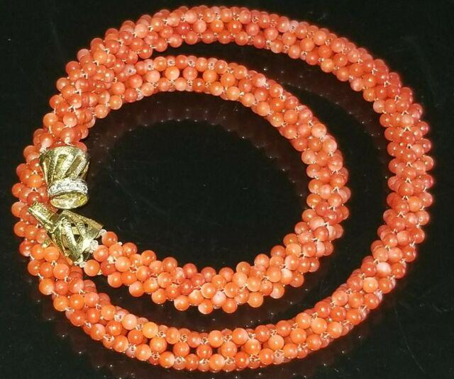 Vtg Chinese Woven Natural Coral Beads 14k Solid Gold Paved Diamond Necklace Rare