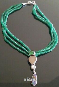 Vtg Echo Of The Dreamer 3 Strand Emerald Beads/gemstones Pendant Necklace Rare