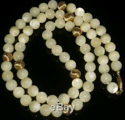 Vtg Moonstone Beads 8mm W 18k 750 Ball Beads Clasp Fine Gold Necklace 24rare