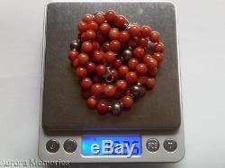 Vtg Rare Natural Orange Red Jade 925 Silver Bead Necklace 31.5 Signed GSJ 72g
