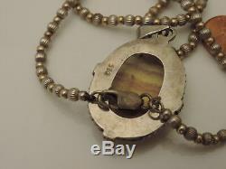 Vtg Sterling Silver Rare Derbyshire Blue John Pendant beaded Chain Necklace 7a49