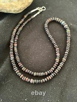 Womens Sterling Silver Black Fire OPAL Bead Necklace Rare 980