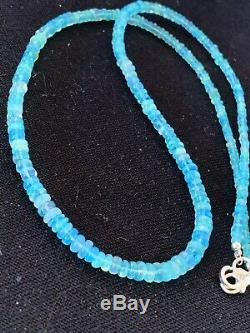 Womens Sterling Silver Blue OPAL Bead Necklace Rare 184