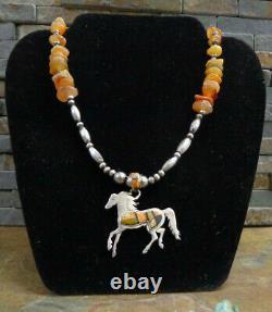 Wonderful Rare Calvin Begay Navajo Sterling Multi Gem Horse Bench Bead Necklace